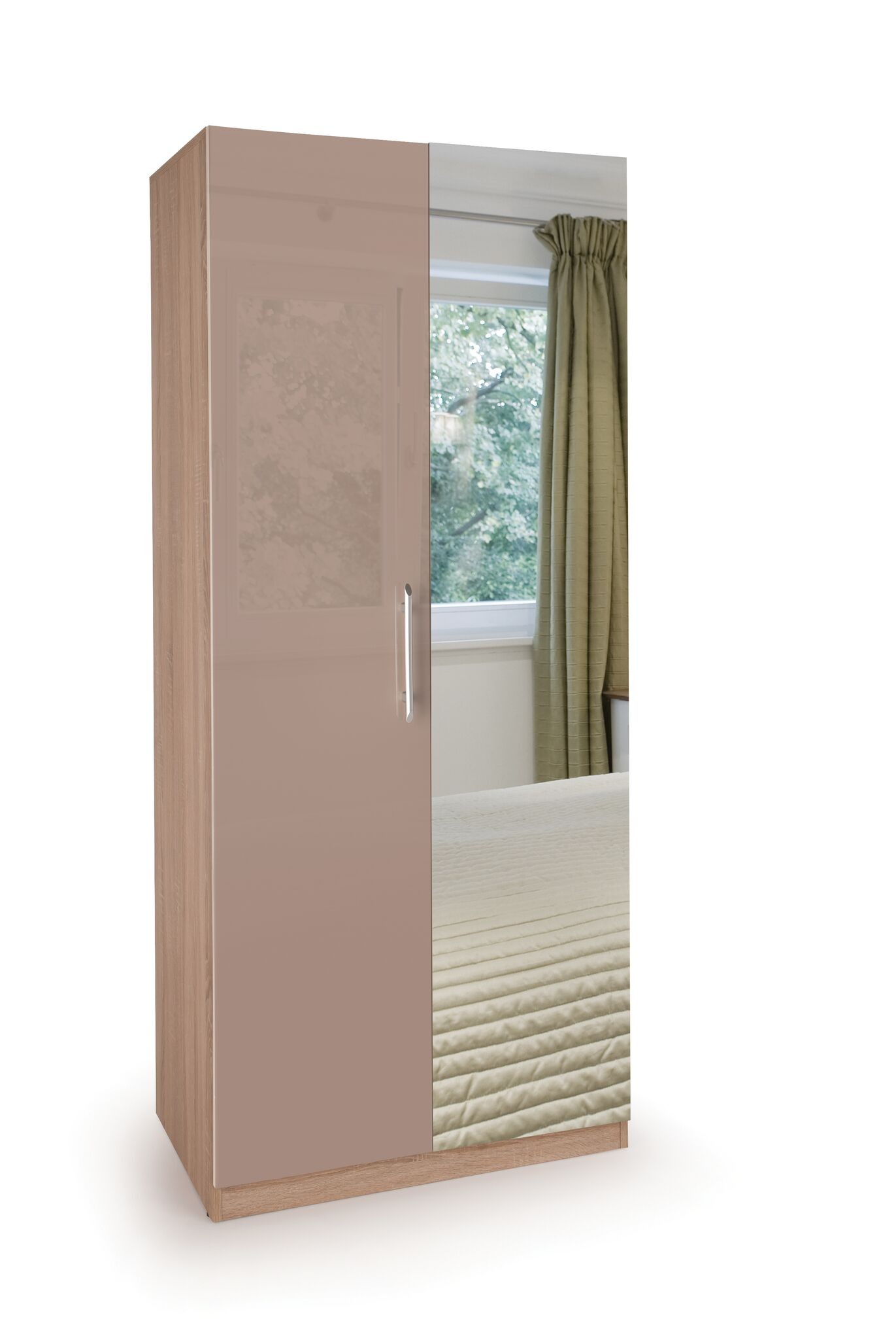 Coral Gloss Quality Bedroom Mirror Wardrobe - Oak Frame Mocha Doors