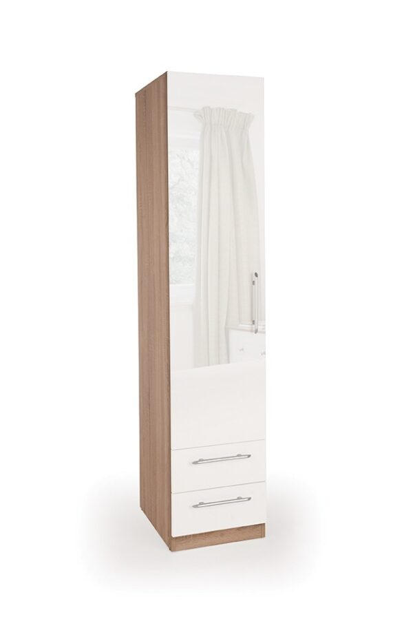 Coral Gloss Quality Bedroom Single Combi Wardrobe - Variety Of Colours
