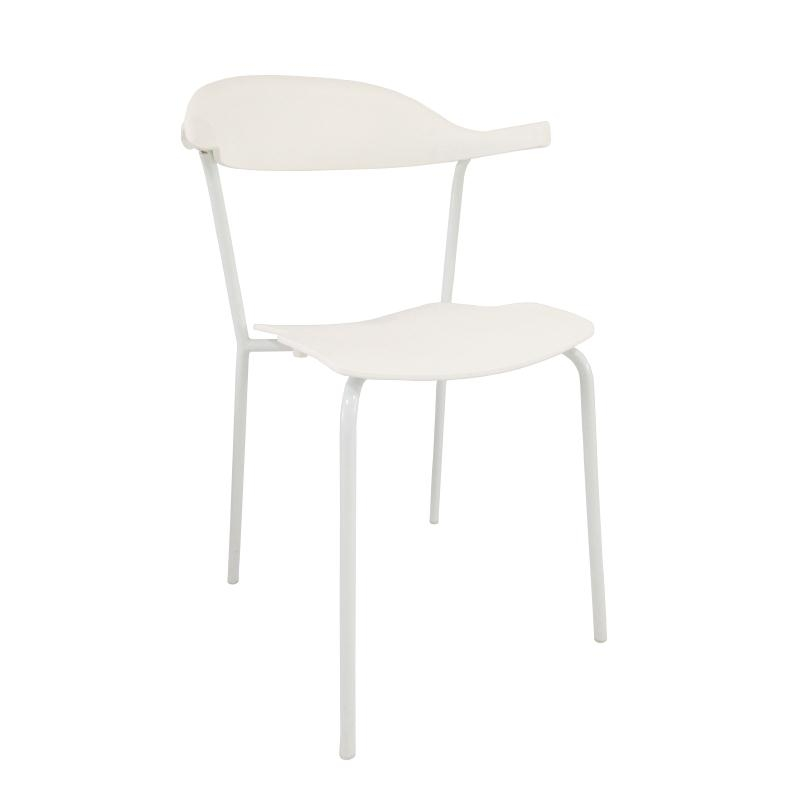 Mano White Stacking Kitchen Dining Chair Steel Frame Polypropylene Seat Price Is For 4