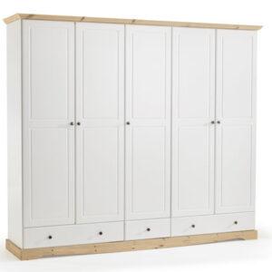 Romond White And Pine Exra Large 5 Door Wardrobe 3 Drawer Chest Danish Made Quality
