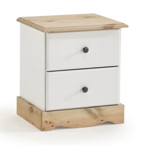 Romond White And Pine 2 Drawer Bedside Table Danish Made Quality