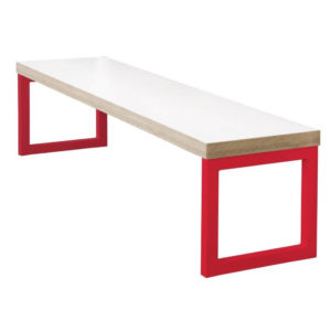 Kaso Kitchen Dining Room Bench Red Effect With White Frame 3Ft