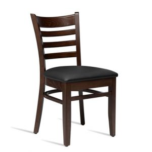 Stayvone Quality Kitchen Dining Chair Dark Walnut Frame Black Padded Seat Fully Assembled