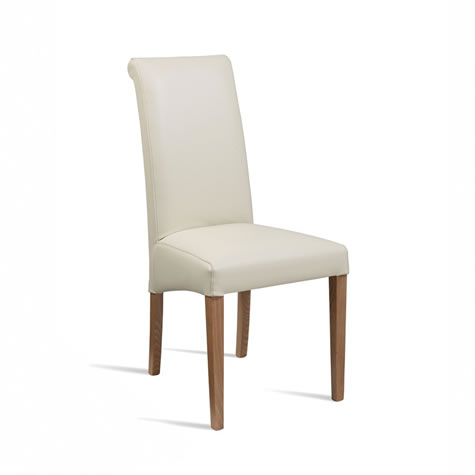 Knightsbridge Dining Kitchen Chair Oak Legs Cream Padded Seat And Back Fully Assembled