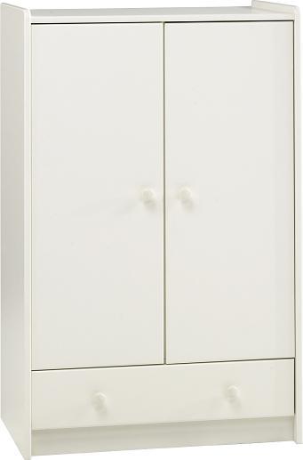 White Mdf Wardrobe - 2 Door 1 Drawer