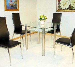 Hal Clear Glass Square Dining Kitchen Table With 4 Chairs