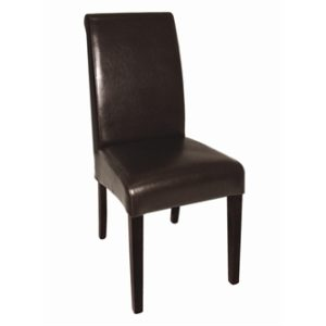 Troland Brown Leather Dining Chairs Pre Assembled