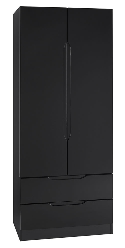 Viz Ori Black Gloss Two 2 Door 2 Drawer Combi Wardrobe Uk Made Quality Fully Pre Assembled