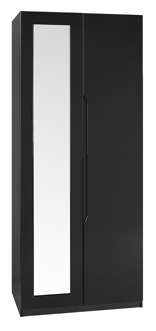 Viz Ori Black Gloss Two Door Wardrobe With Mirror Uk Made Quality Fully Pre Assembled