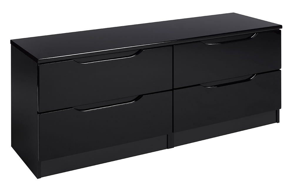 Viz Ori Black Gloss Bedroom Chest 2 Drawers Large Double Chest Uk Made Quality Fully Pre Assembled
