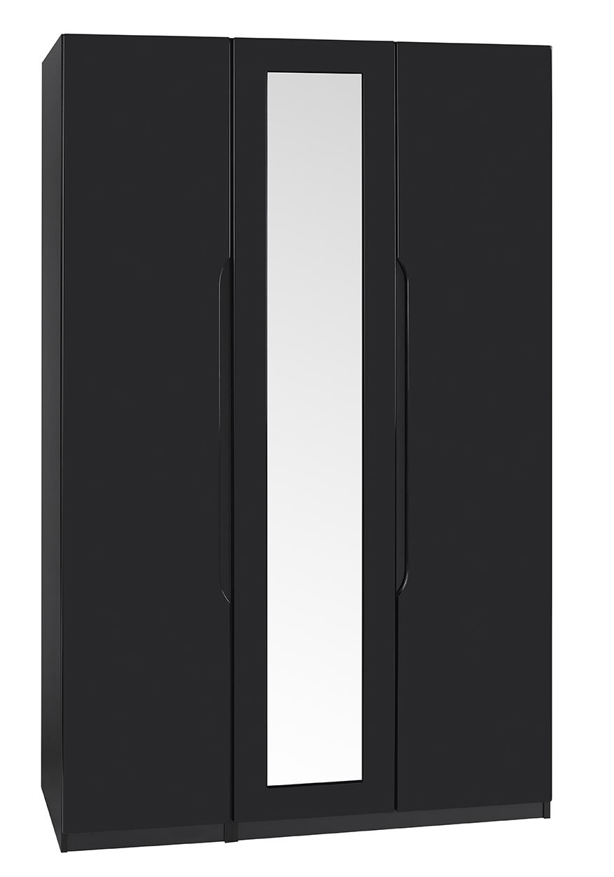 Viz Ori Black Gloss Three 3 Door Wardrobe With Mirror Uk Made Quality Fully Pre Assembled