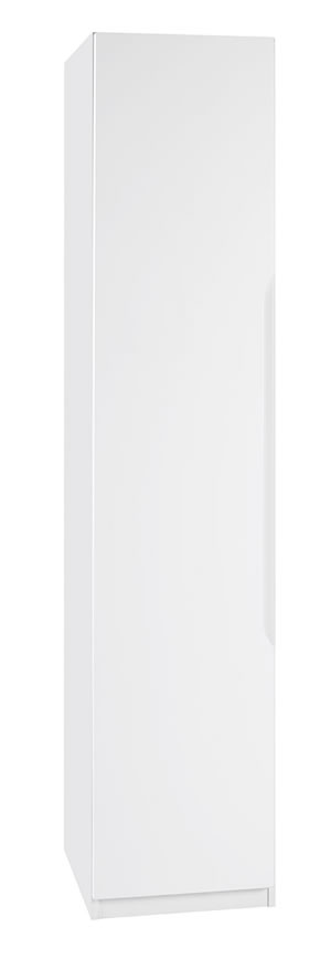 Viz Alp White Gloss Single Narrow Wardrobe Uk Made Quality Fully Pre Assembled