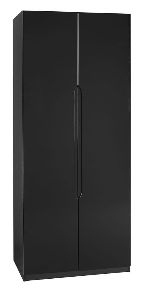 Viz Ori Black Gloss Two Door Wardrobe Uk Made Quality Fully Pre Assembled