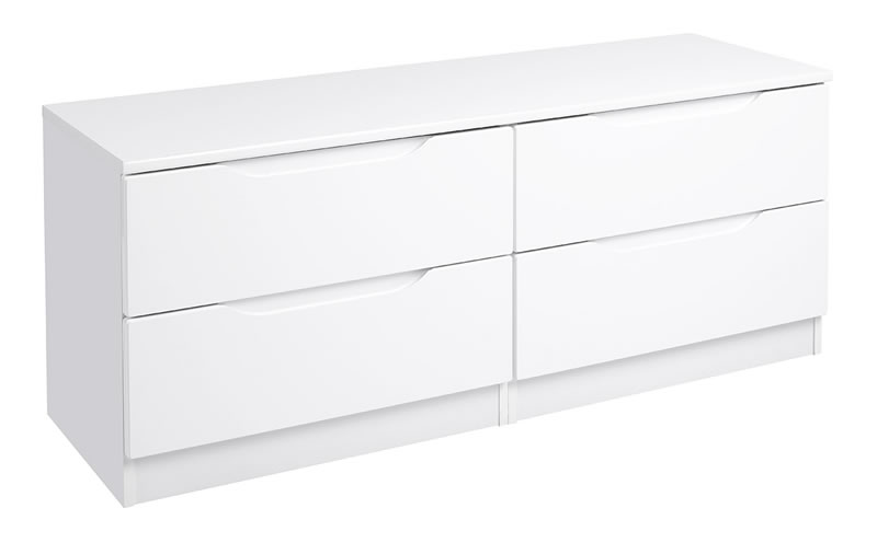 Viz Alp White Gloss Bedroom Chest 2 Drawers Large Double Chest Uk Made Quality Fully Pre Assembled