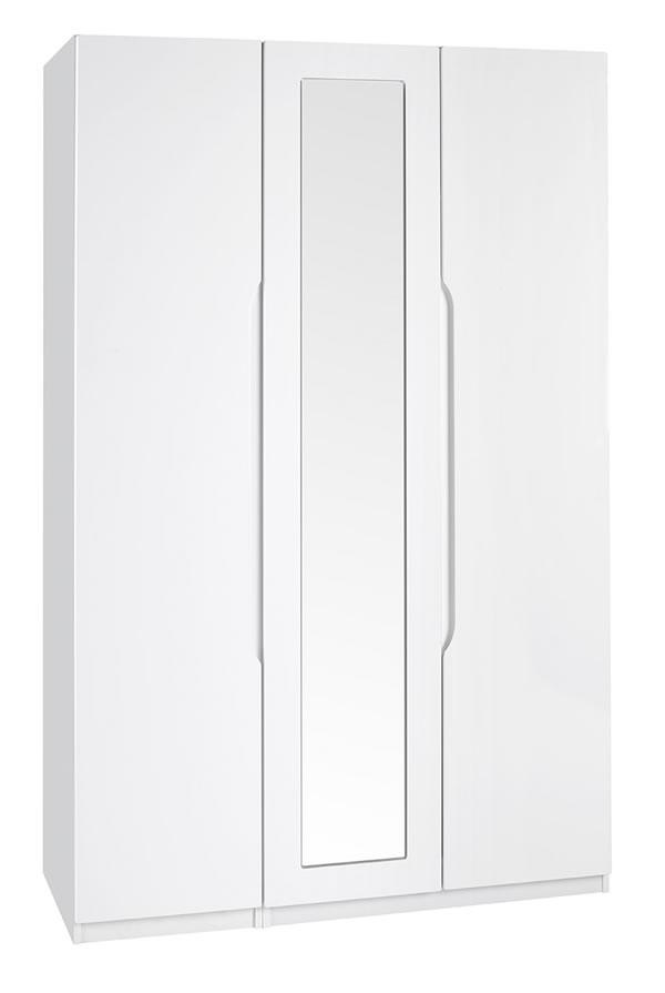 Viz Alp White Gloss Three Door Wardrobe With Mirror Uk Made Quality Fully Pre Assembled