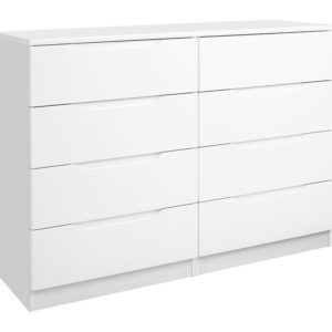 Viz Alp White Or Cashmere Gloss Bedroom Chest 4 Drawers Large Double Chest Uk Made Quality Fully Pre Assembled