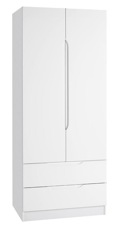 Viz Alp White Gloss 2 Door 2 Drawer Wardrobe Uk Made Quality Fully Pre Assembled