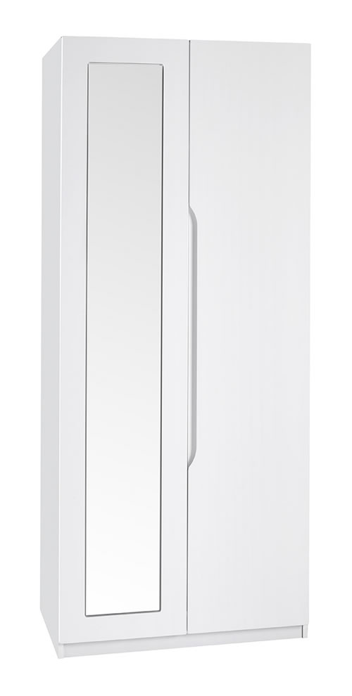 Viz Alp White Gloss Two Door Wardrobe With Mirror Uk Made Quality Fully Pre Assembled