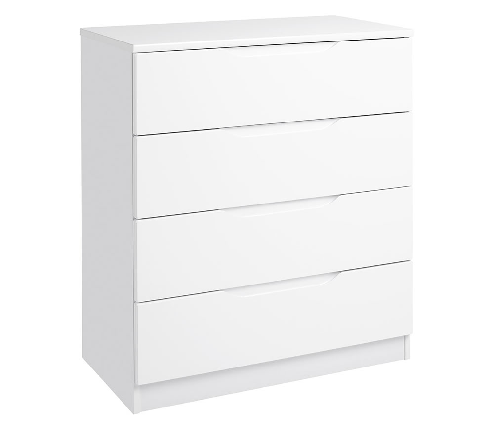 Viz Alp White Or Cashmere Gloss Bedroom Chest 4 Drawers Chest Uk Made Quality Fully Pre Assembled