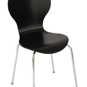 4 Levanchy Kitchen Dining Chairs - Black Wood With Chrome