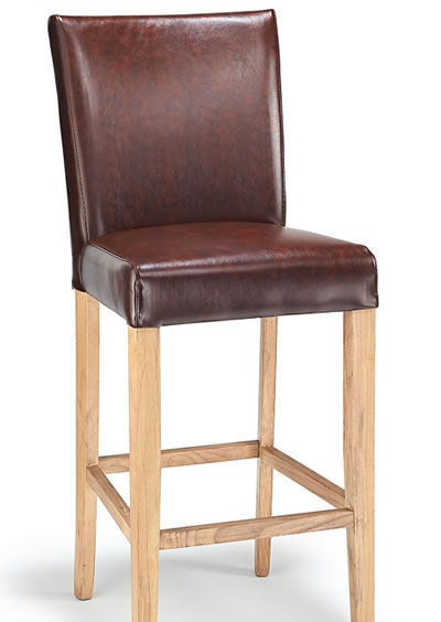 Deule Kitchen Bar Wooden Stool Brown Real Bonded Leather Seat