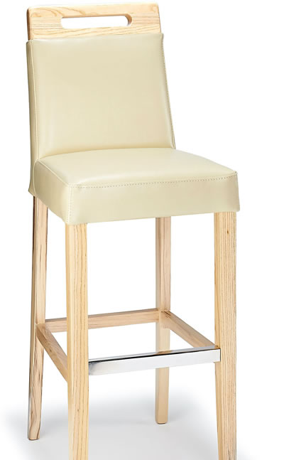 Deule Kitchen Bar Wooden Stool Cream Real Bonded Leather Seat