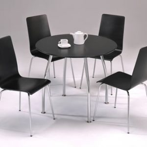 Lingham Large Black Round Chrome Kitchen Dining Set 90Cm Table Top
