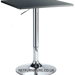 Trafalgar Square Bar Table Black Or White Satin Finish With Chrome Pedestal