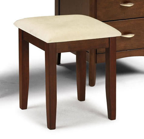 Maynony Dressing Table Stool Dark Wood Frame Padded Seat