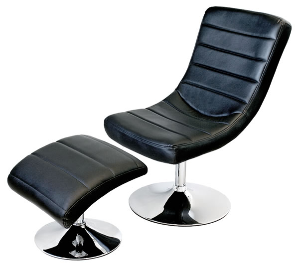 Sarak Lounge Chair And Footstool Recliner In Black Or White