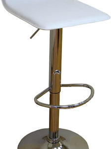 Locany White Bar Stool Faux Leather Height Adjustable
