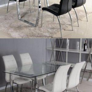Julieti Large Glass Chrome Dining Kitchen Table With 4 Luigi Chairs