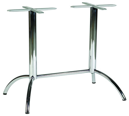 Mars Twin Pedestal Chrome Table Base Dining Height Spider Legs