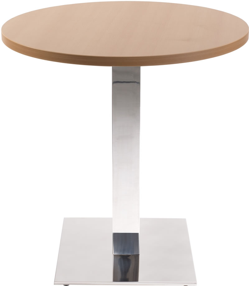 Lysandra Chrome Dining Table With Square Base And Round Top