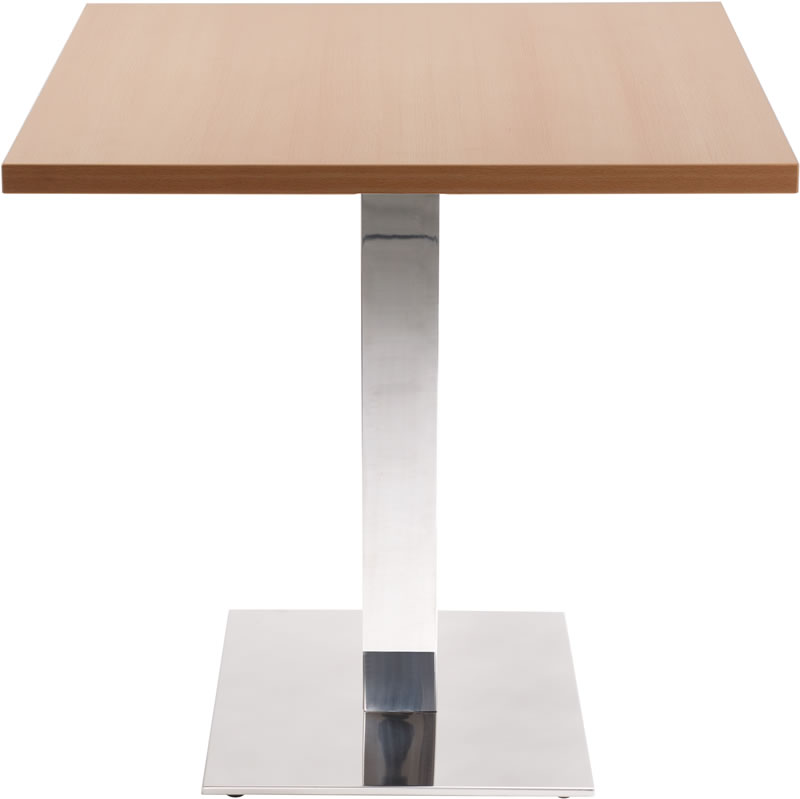 Lysandra Chrome Dining Table With Square Base And Square Top
