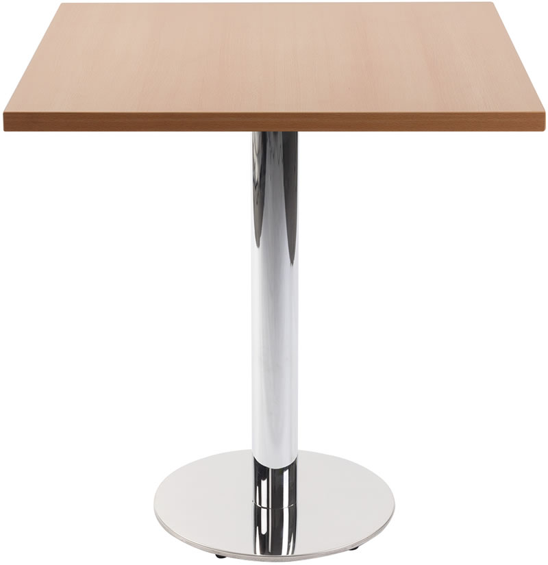 Lysandra Chrome Dining Table With Round Base And Square Top