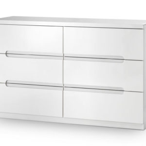 Grant White High Gloss 6 Drawer Wide Chest With Fully Assembled Option