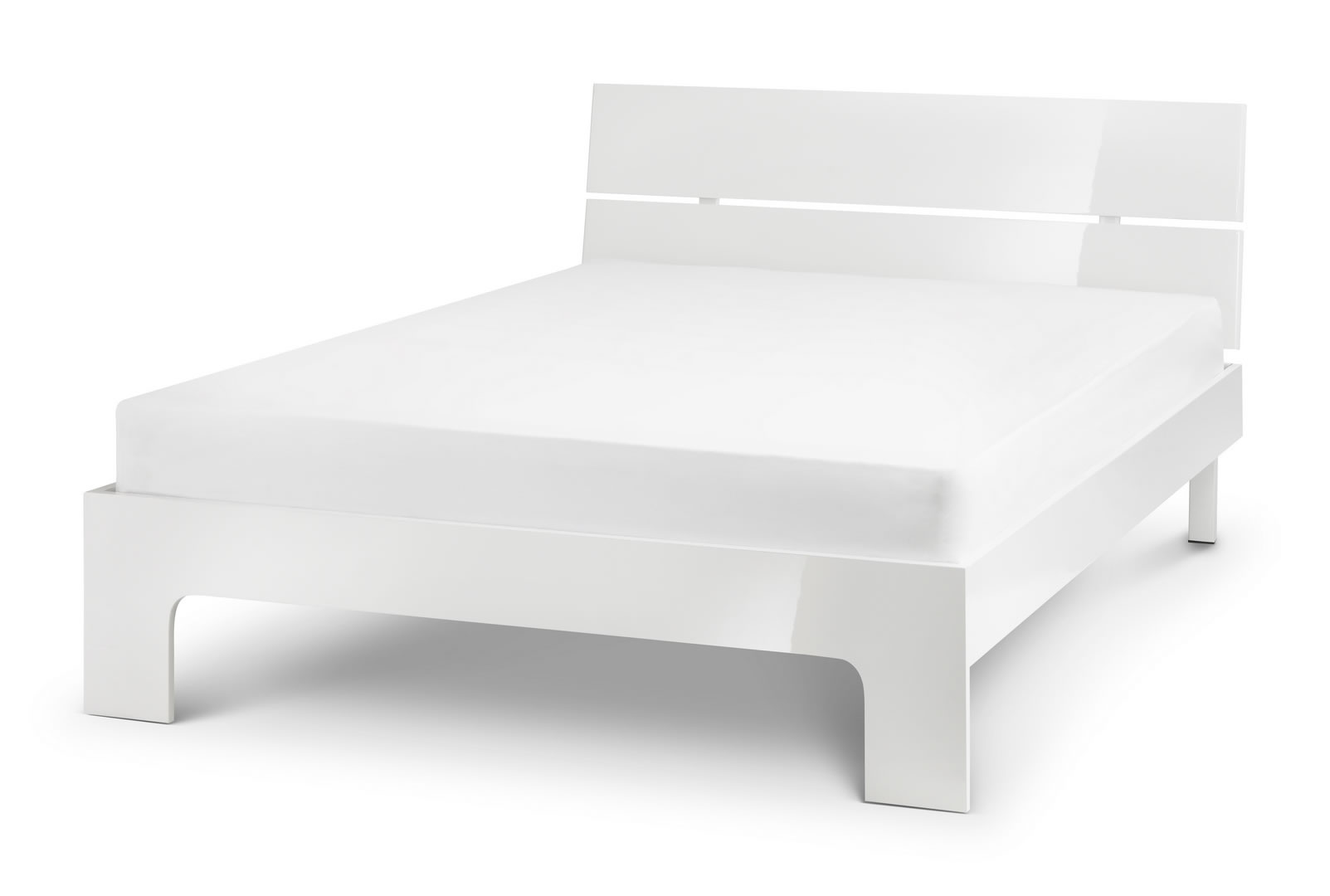 Grant White High Gloss Double Bed With Sprung Slatted Base 2 Size Option