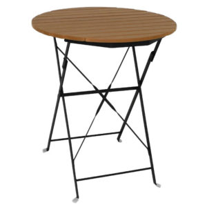 Lyndy Outdoor Folding Round Faux Wood Bistro Patio Garden Table 600Mm