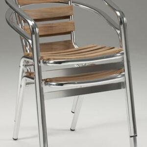 Madrone Stackable Aluminium And Teak Chair - Indoor/Outdoor