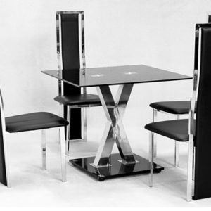 Sam Rectangle Black Glass Dining Table X Design Chrome Frame With 4 Chairs