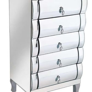 Brooklyn Sophisticated Mirror Glass 5 Drawer Tall Chest With Crafted Crystal Look Knobs