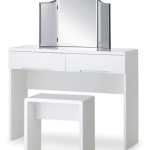 Grant White High Gloss Dressing Table With 2 Drawers With Fully Assembled Option