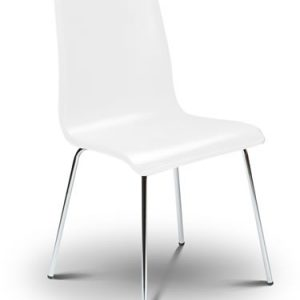 Mardy White Kitchen Dining Chair With Chrome Legs