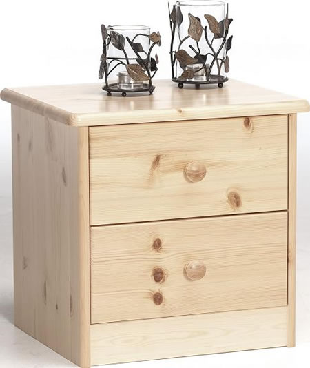Farm Style Solid Pine Bedside Table - 2 Drawer Danish Made Quality