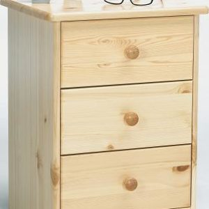Farm Style Solid Pine With Natural Lacquer Bedside Table - 3 Drawer Danish Made Quality
