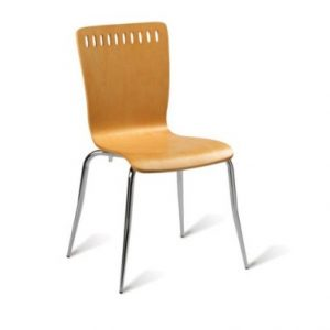 Mako Wood And Chrome Chair - Stackable