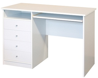 Suzy White Student Home Office Desk 4 Drawers