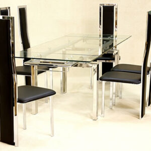 Mati Extending Rectangle Table - Glass And Chrome