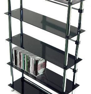 Maxoni 5 Tier Black Glass Media Storage Unit